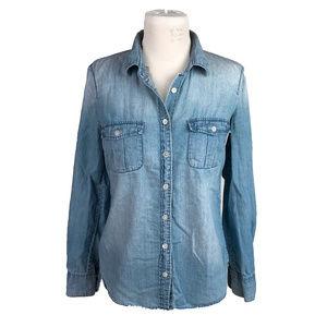J. Crew Blue Denim Button Down Shirt Blouse Size 2